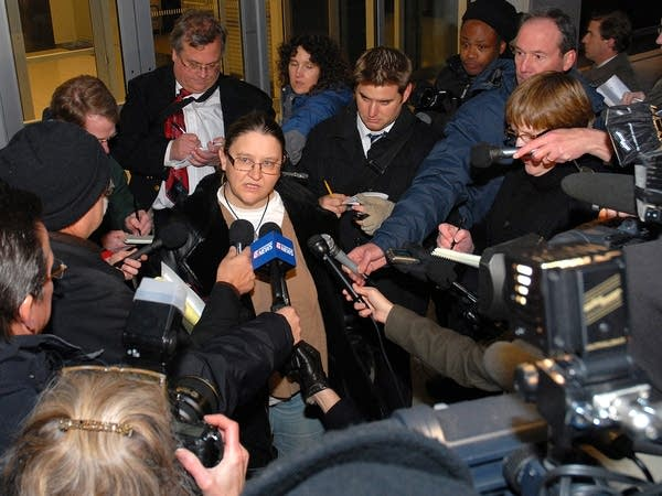 Jolyne Cross talks to reporters
