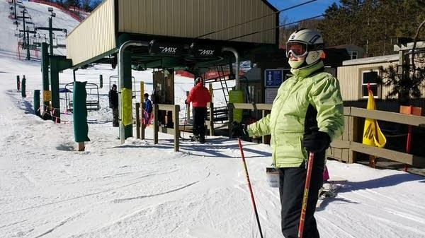 Bonnie Condit skis at Afton Alps.