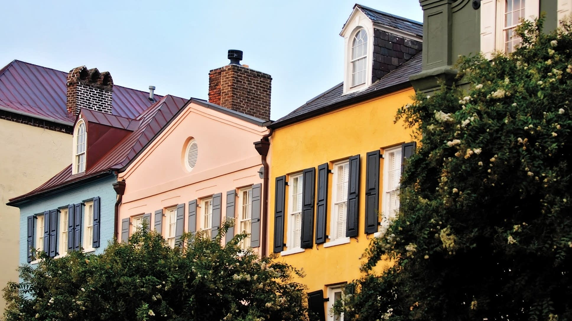 Rainbow Row in Charleston, S.C., features houses of many colors.