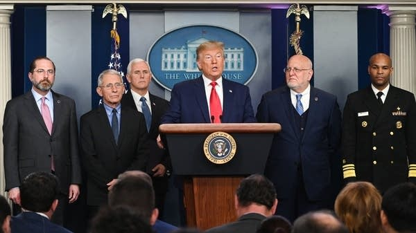 President Trump speaks at a news conference
