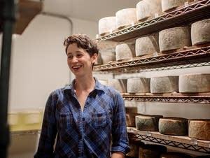Katie Bonow in the aging room of Capra Nera Creamery.