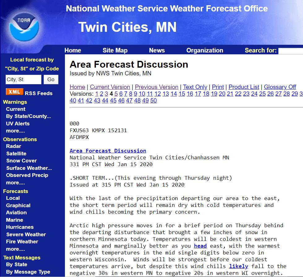 Area forecast discussion