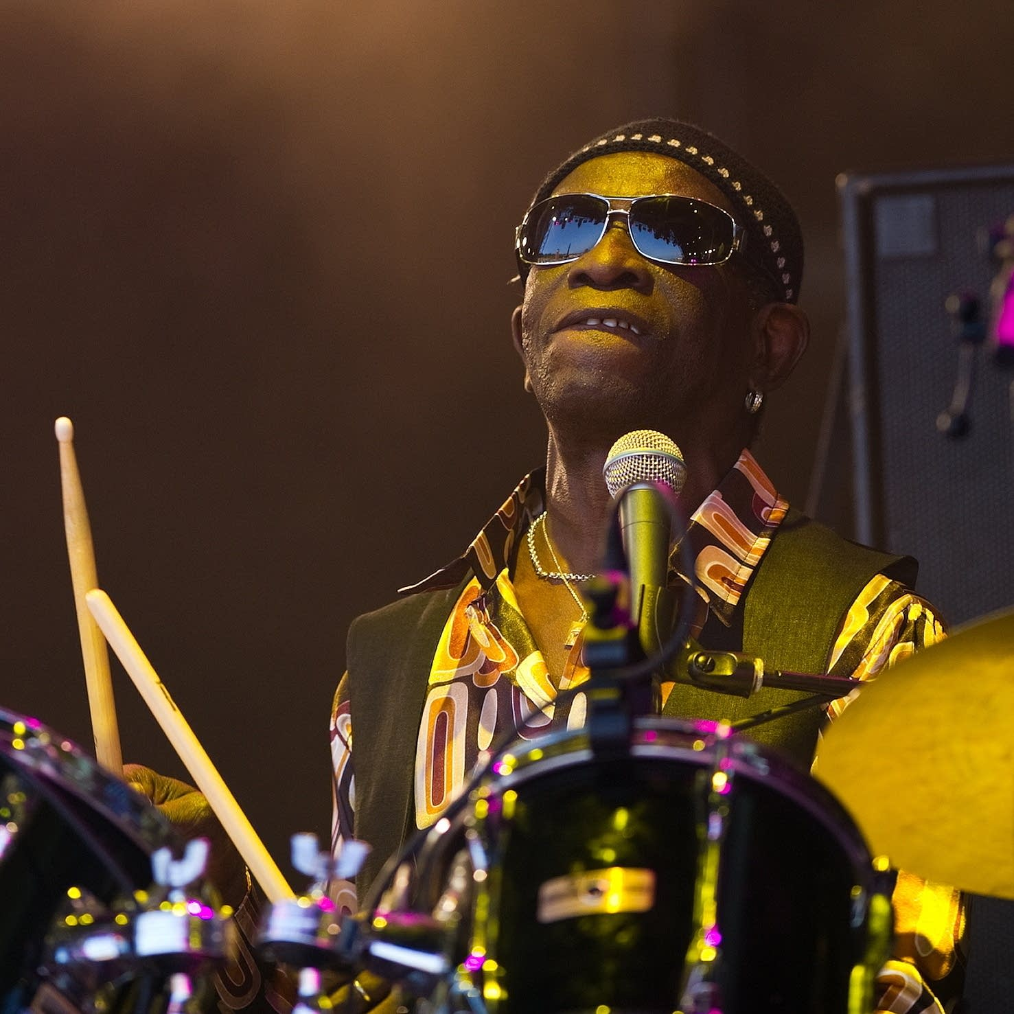 Tony Allen plays Glastonbury in 2010.