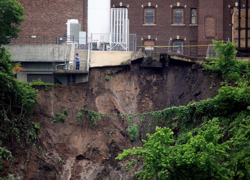 Mudslide damage behind U of MN's medical campus