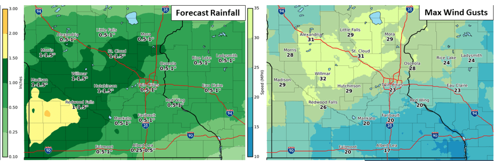 Rain and wind forecast Wednesday