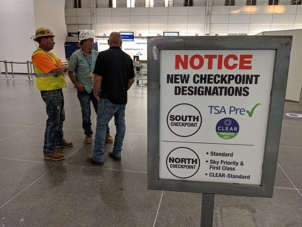 A sign on display at MSP airport highlights changes for security.