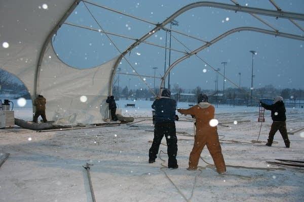 "Prepping the tent for ""Terra Nova"""