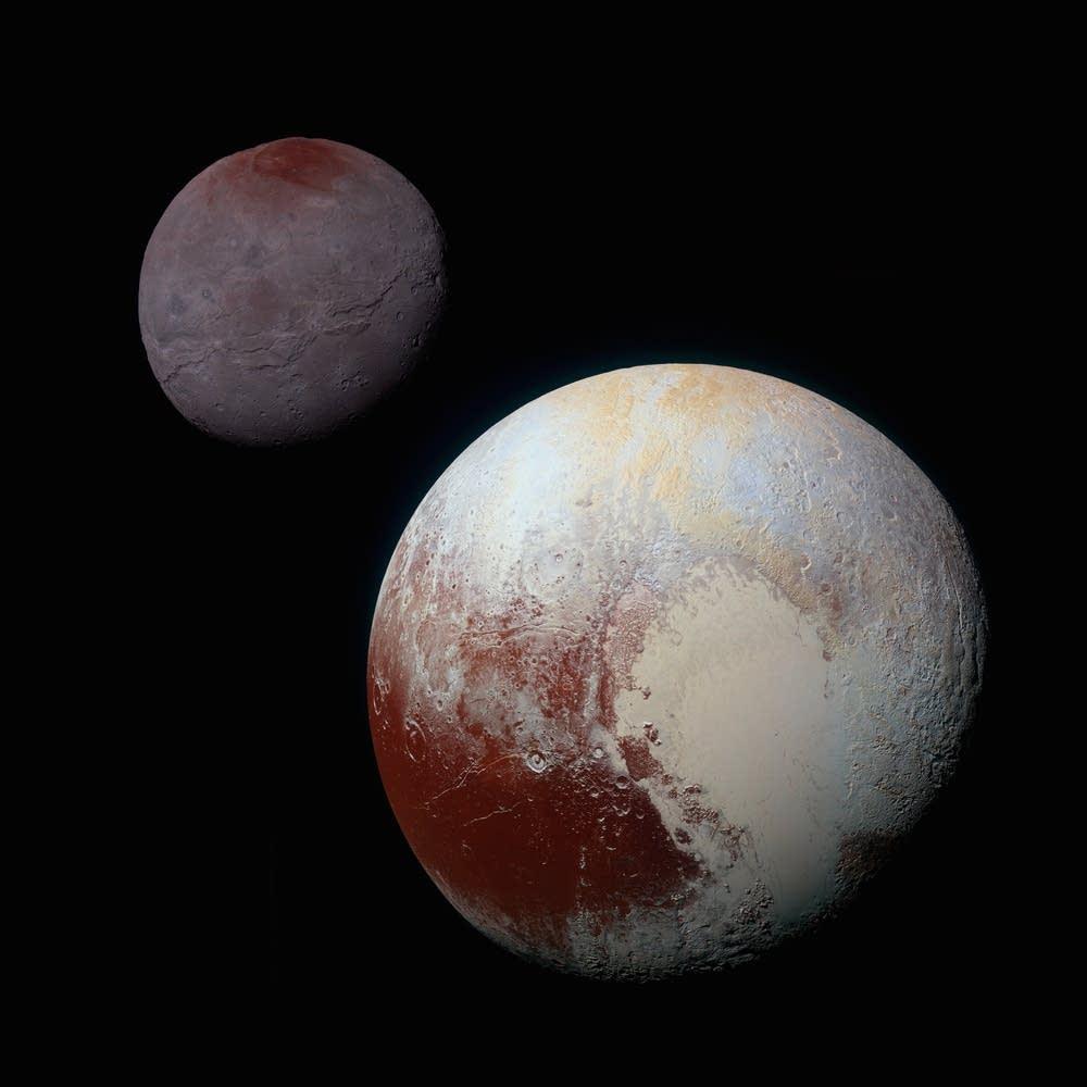 Charon and Pluto, composite image