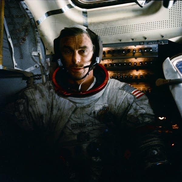 Astronaut Eugene Cernan is photographed inside the lunar module