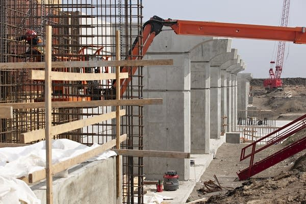 A view of a large structure under construction.