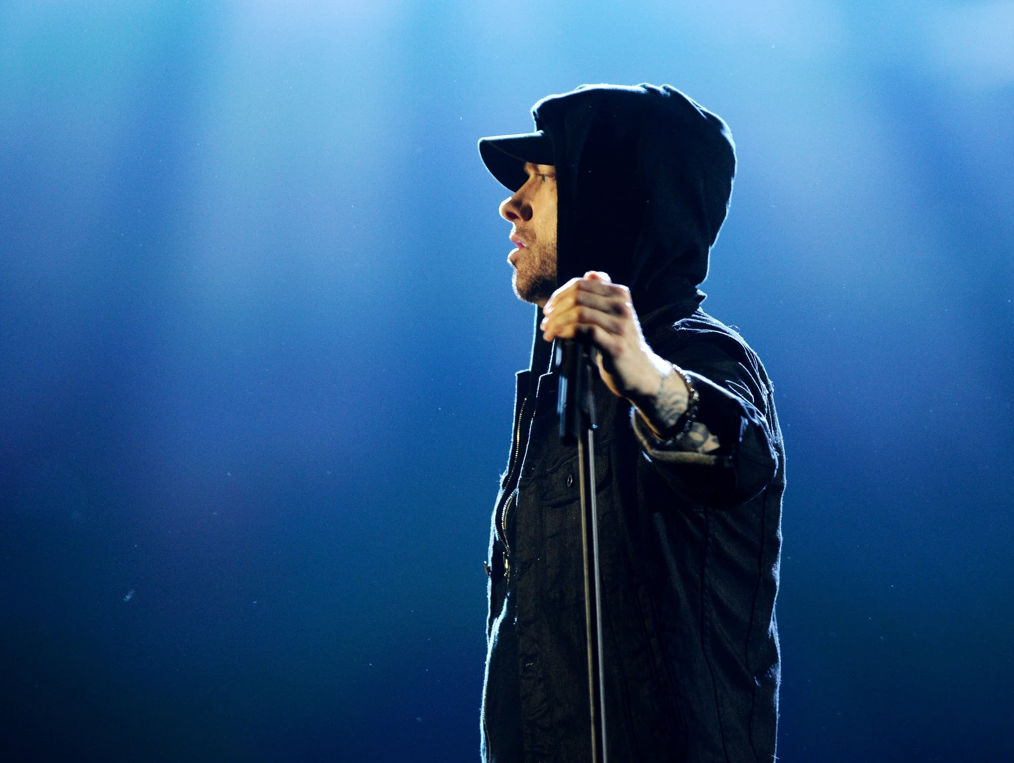 Eminem performs at the MTV EMAs on Nov. 12, 2017.