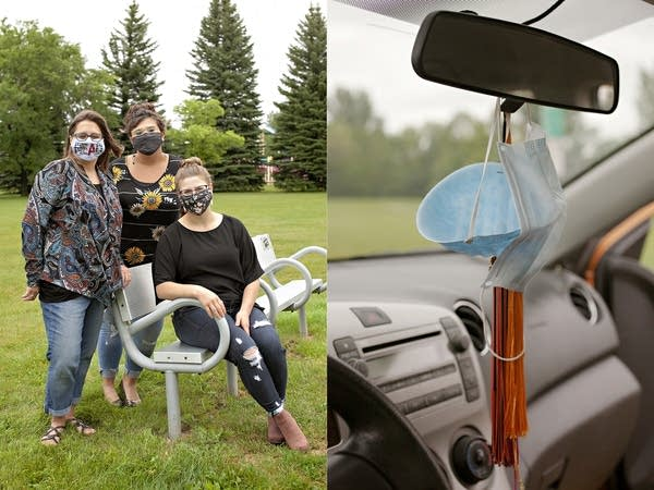 Left: 3 women wear face masks. Right: masks hang from a rearview window.