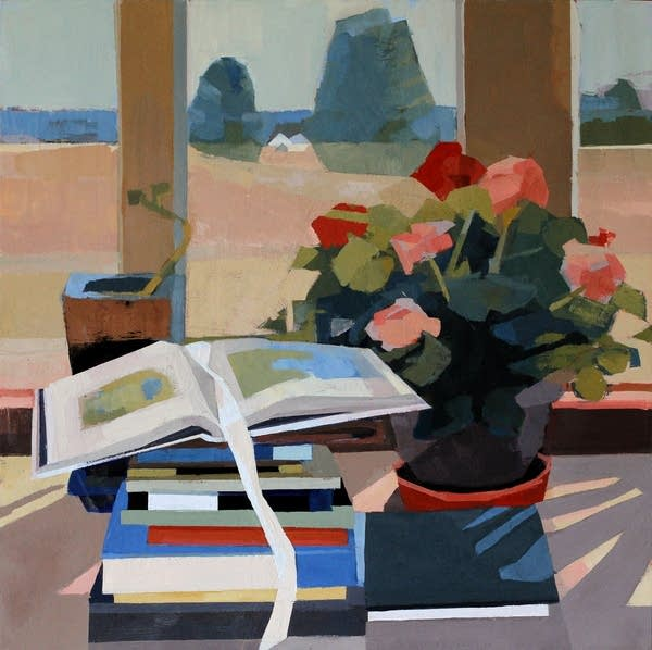 A painting of books and a potted plant at a window.