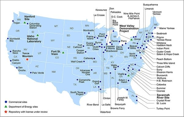 Current storage sites for radioactive waste and spent nuclear fuel