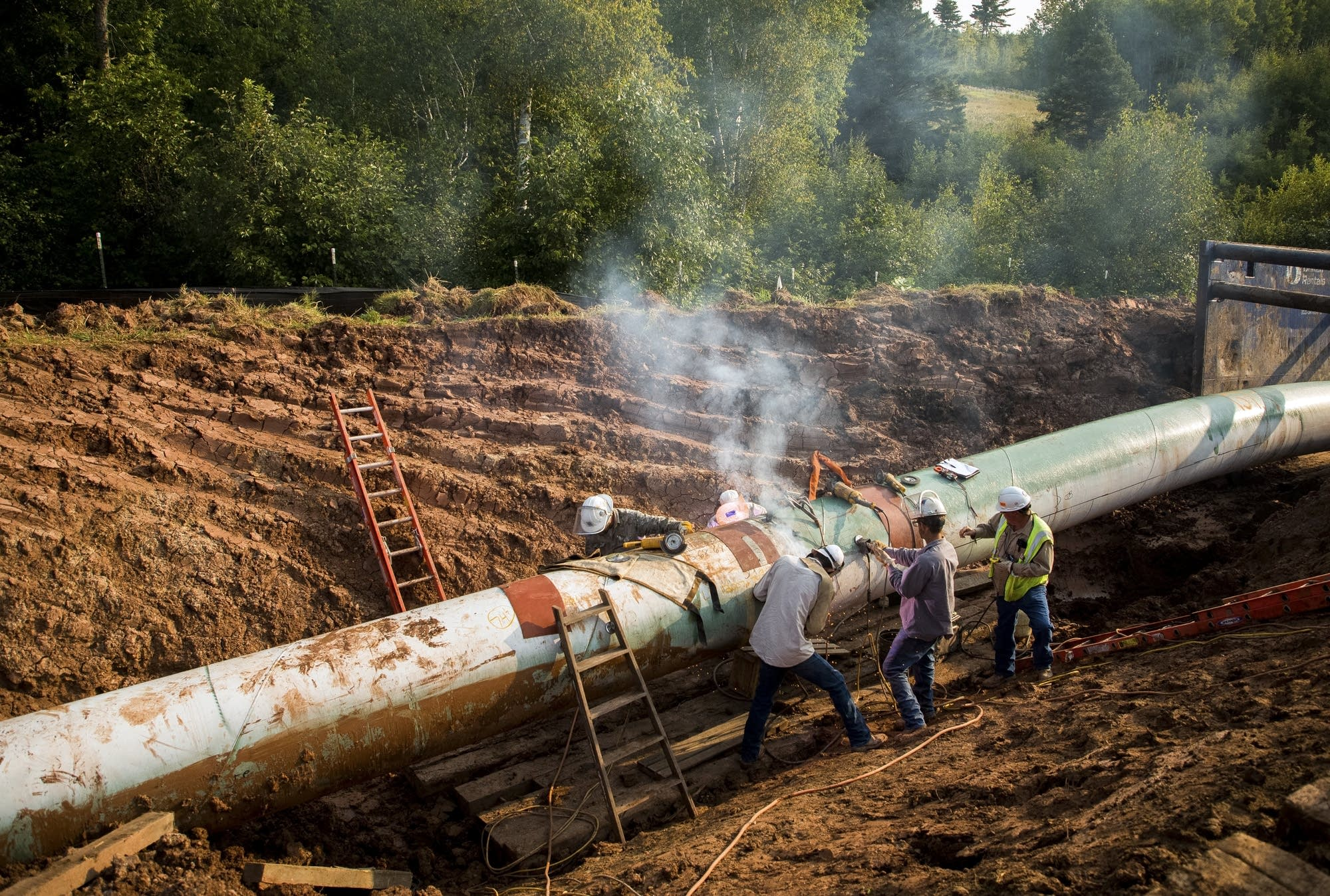 Contractors work on an oil pipeline in Wisconsin.