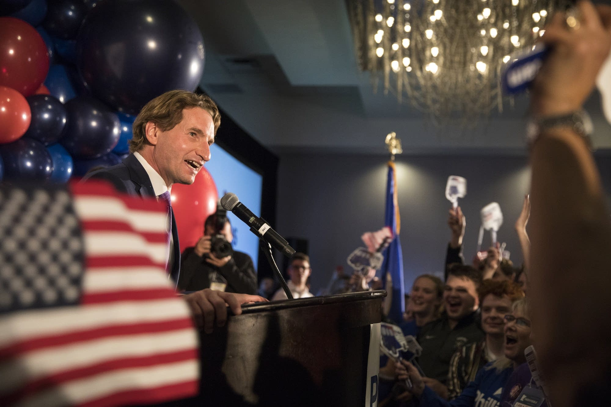Dean Phillips delivers a victory speech.