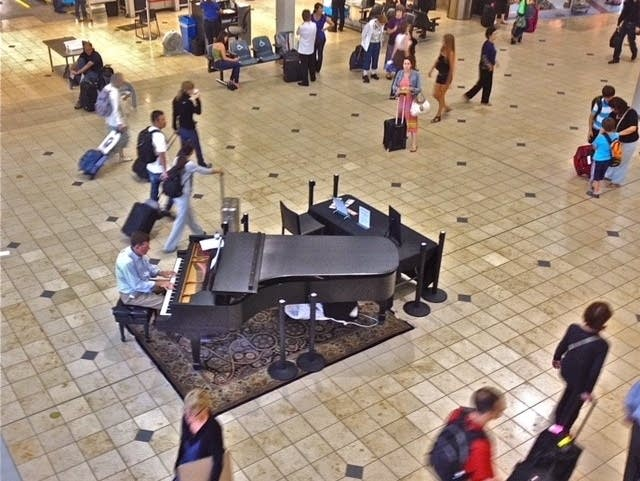 One of the pianos at Minneapolis-St. Paul International Airport