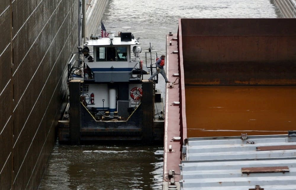 Jumping onto a barge