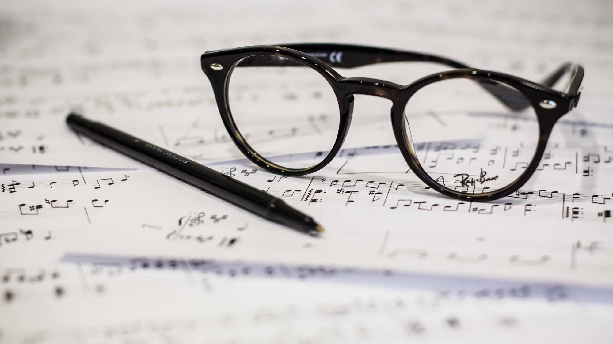 Glasses on sheet music