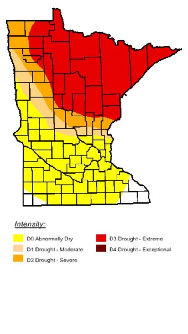 Minnesota drought map