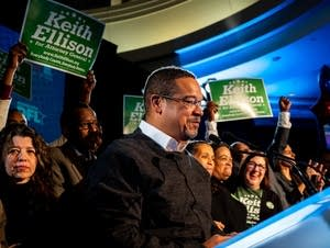 Keith Ellison speaks after winning the election for attorney general.