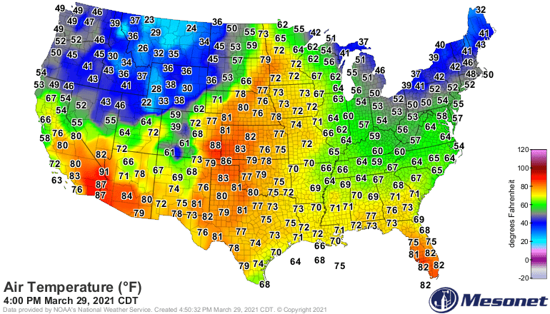 U.S. Temperatures Monday afternoon