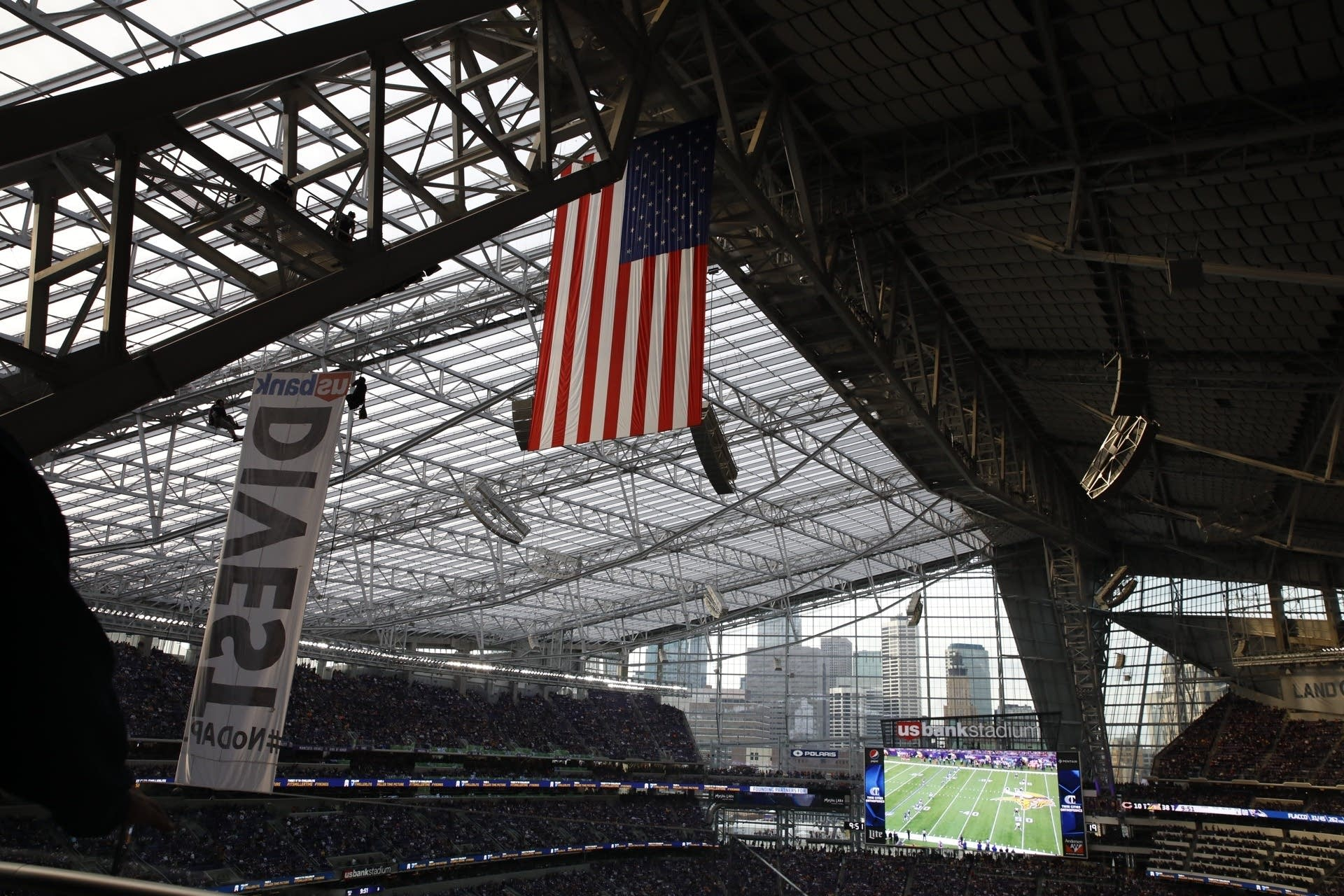 Banner lowered during the Vikings game.