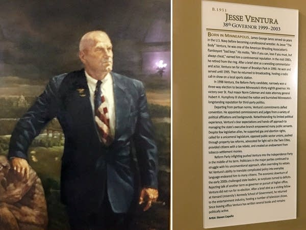 Plaques next to portraits of past governors, including Jesse Ventura.