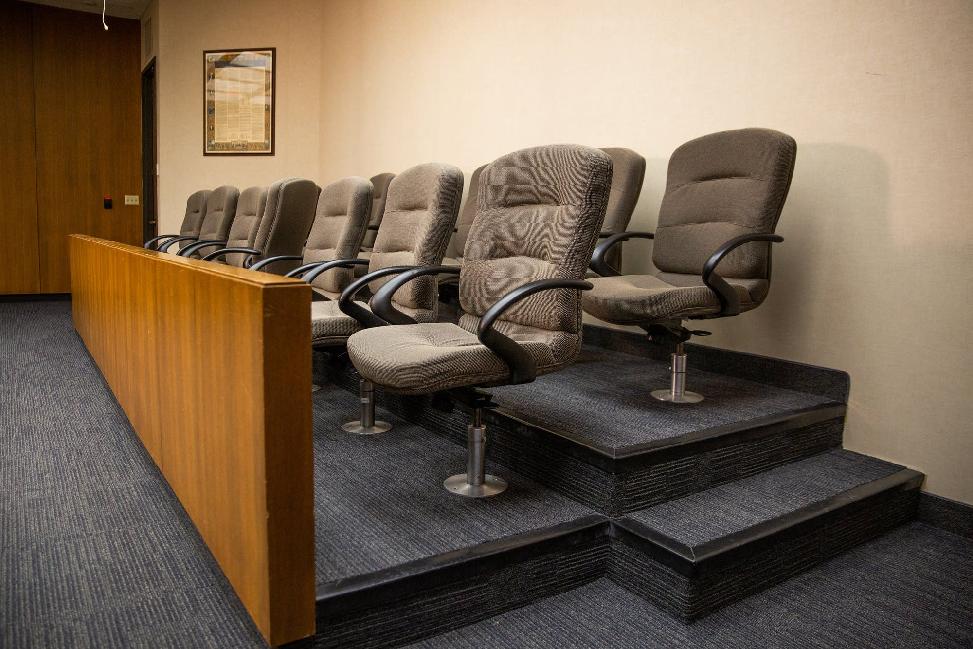 The jury box sits in the courtroom of Mohamed Noor's trial.