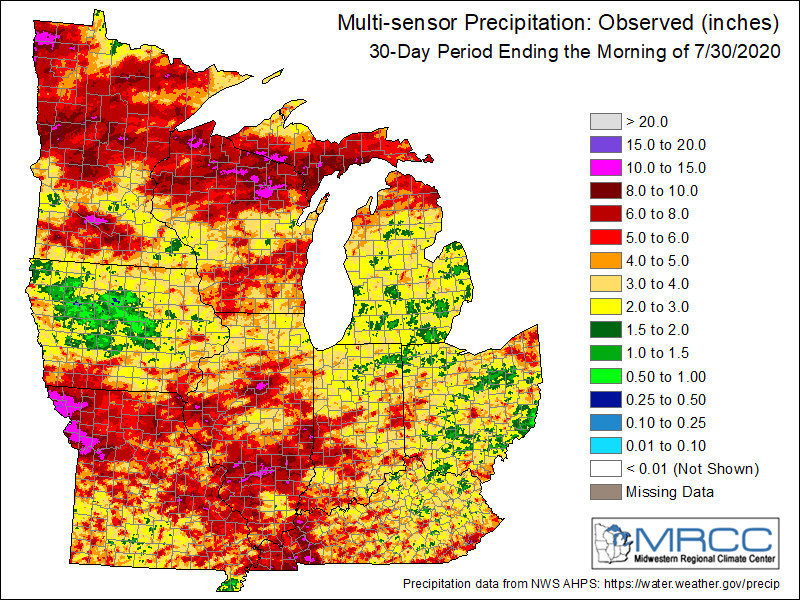 30-day precipitation Midwest totals