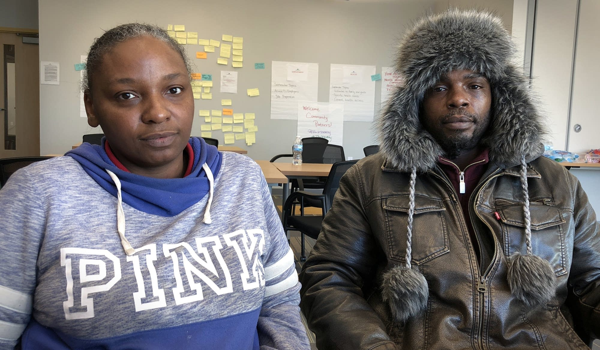 Lakesha Davis and Steven Perkins attend a free legal clinic in north Mpls.