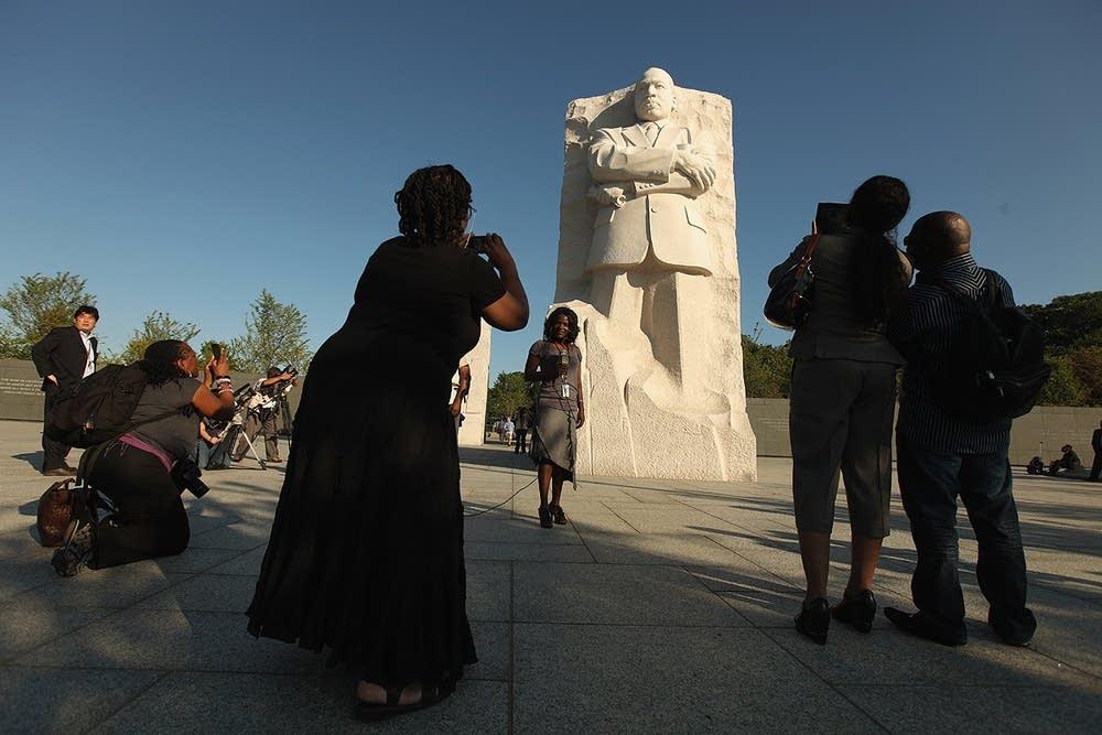 Reporters at the MLK Memorial