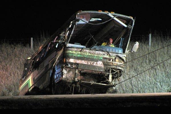 Damaged bus near Austin, Minn.