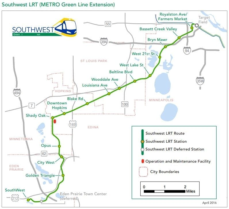 Planned Southwest light rail route