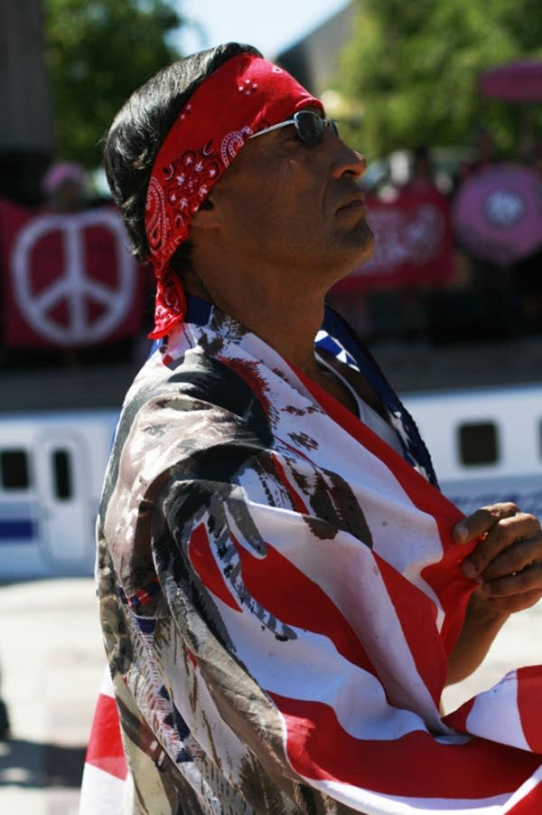 A local man marches for Native American equality.