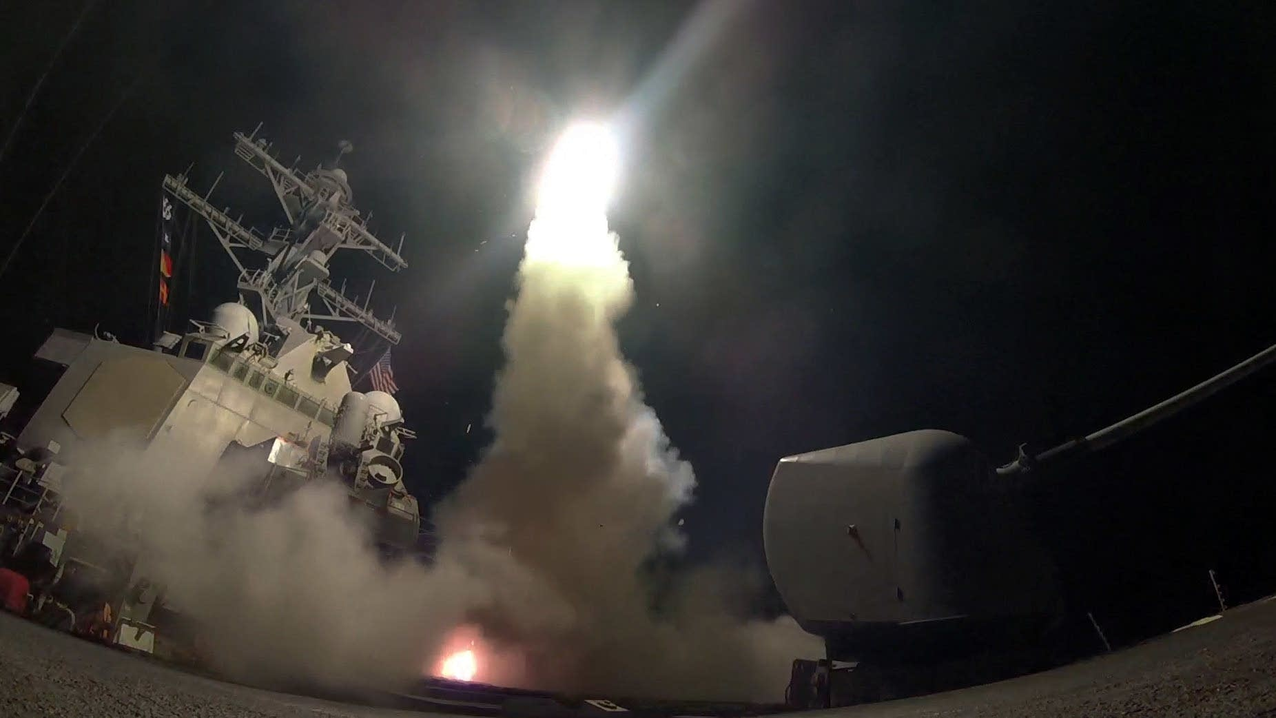 USS Porter launches a tomahawk land attack missile