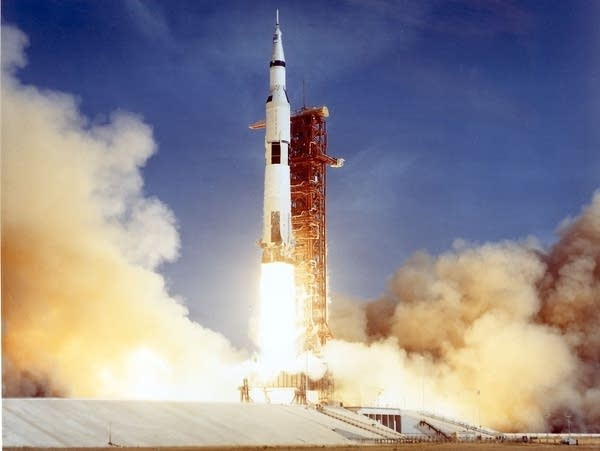 The Apollo 11 Saturn V space vehicle lifts off on July 16, 1969.