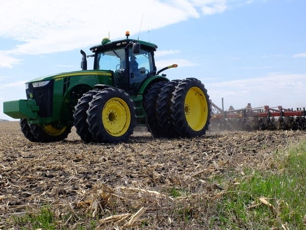 The remains of last years corn crop is tilled.
