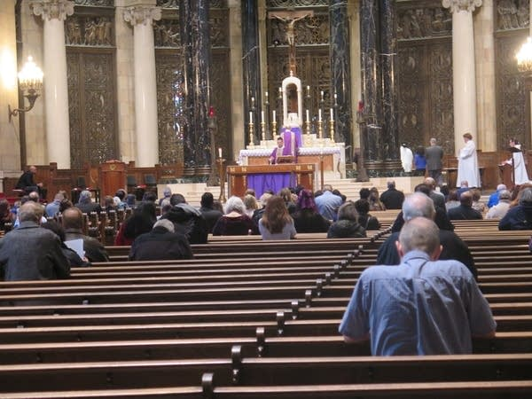 Parishioners at the Cathedral of St. Paul's Sunday noon Mass.