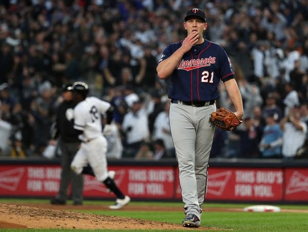 Pitcher Tyler Duffey of the Minnesota Twins reacts