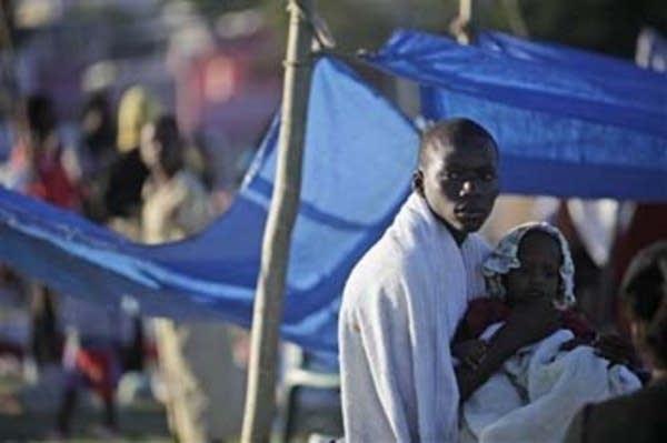 A makeshift camp for quake survivors