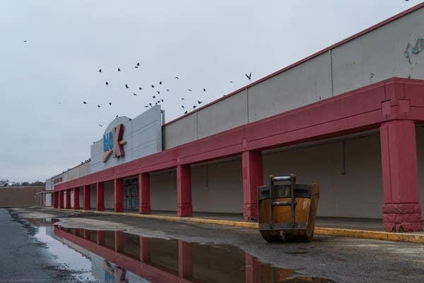 Crows fly over a closed K-Mart.