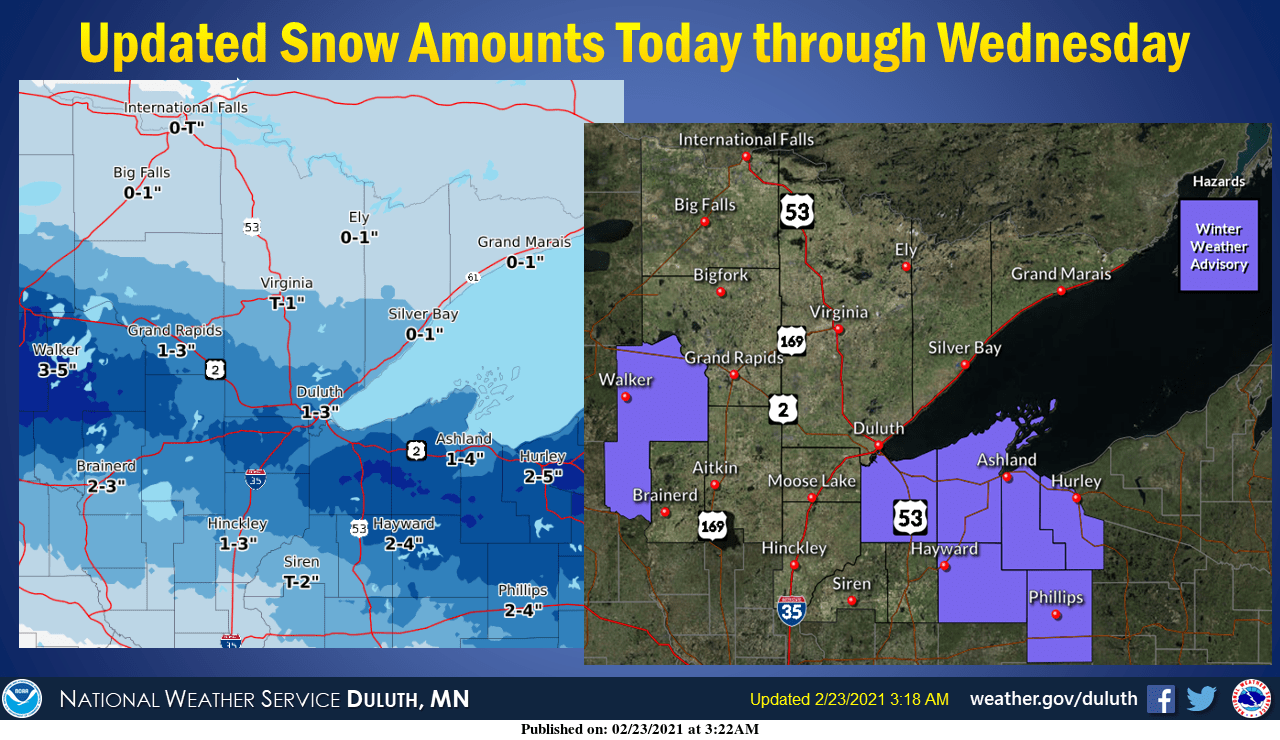 Snowfall totals from the Duluth NWS office