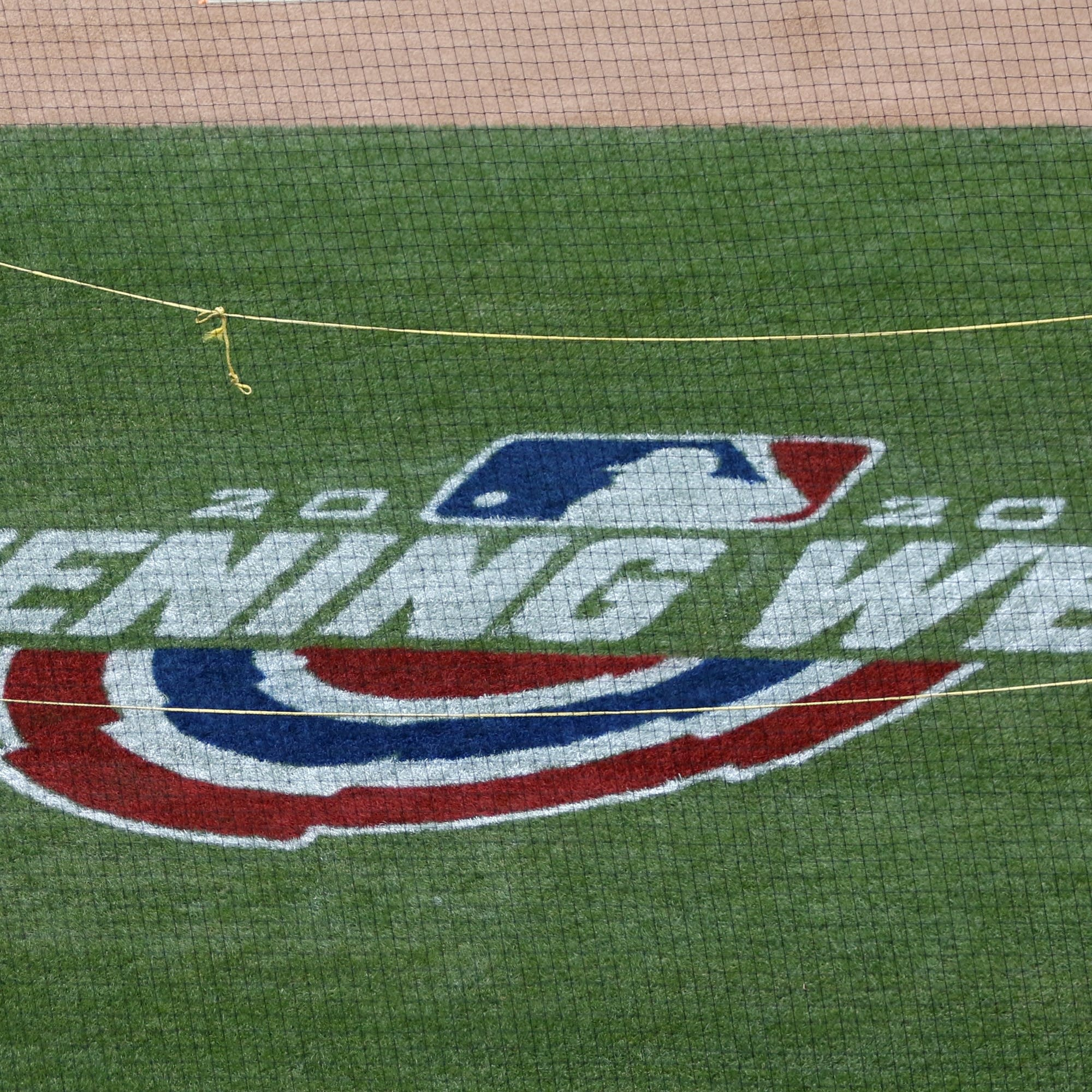 An opening week logo is displayed at Citi Field in New York.