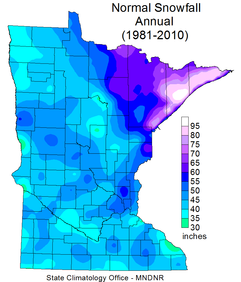 30-year average annual snowfall in Minnesota