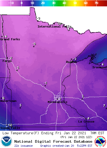 Forecast minimum temps Friday morning