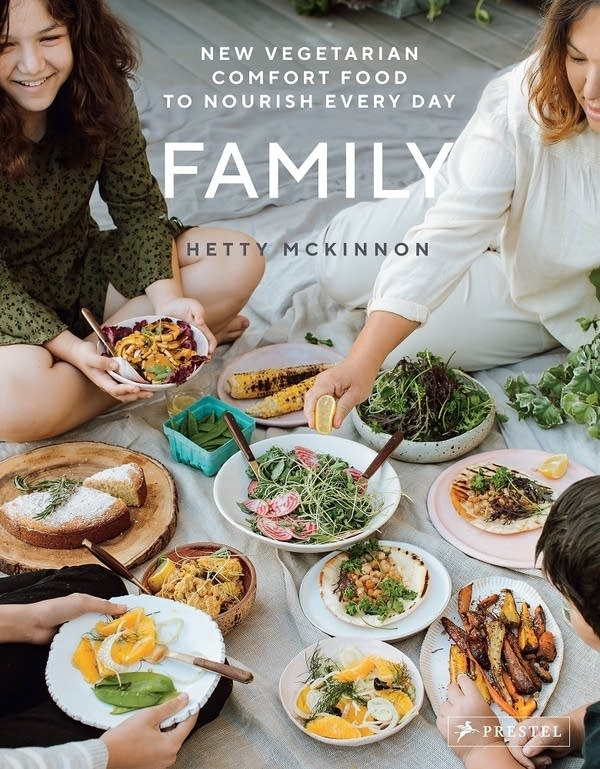 Family book cover showing dishes of food surrounded by author Hetty McKinnon and her family