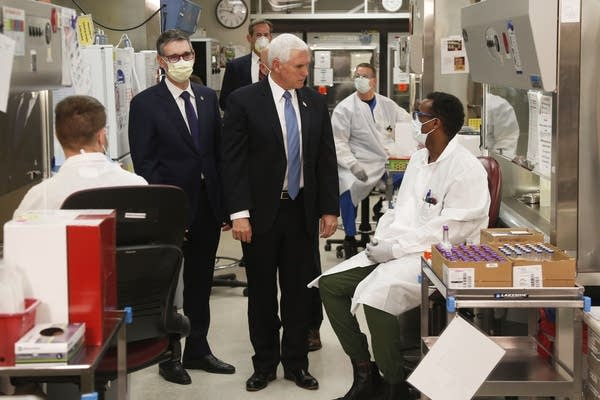 Vice President Mike Pence visits the molecular testing lab at Mayo Clinic.