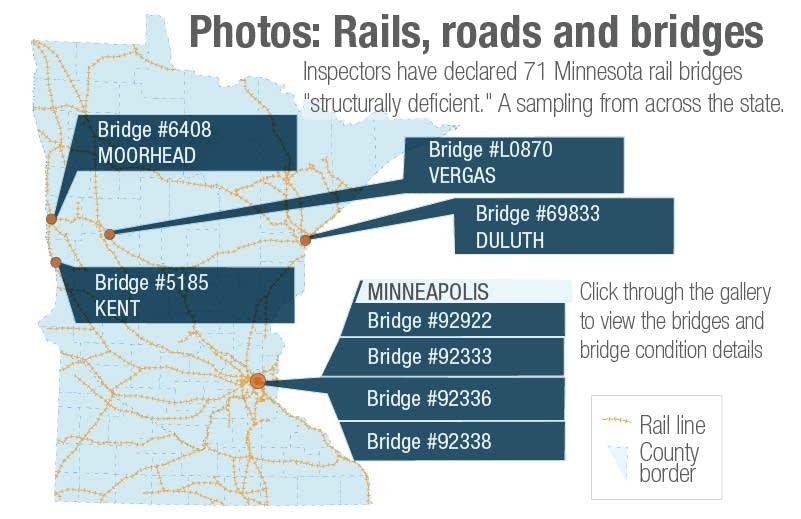 Some structurally deficient rail bridges