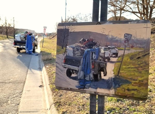 "painting of a truck pulled over by a ""no parking"" sign"